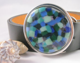 Pebbles belt, blue green glass belt buckle belt for women
