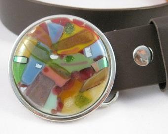 unique festive dichro glass buckle belt, muliticolor