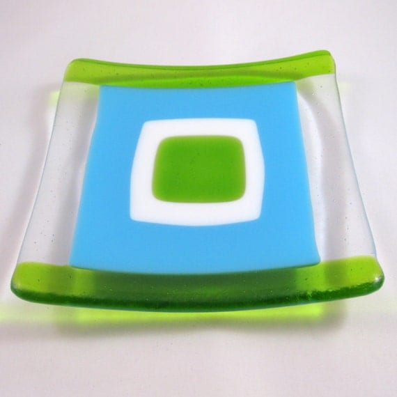 handmade sushi dish -  Blue Ice, turquoise and green fused glass, sold separatey or in set of 4