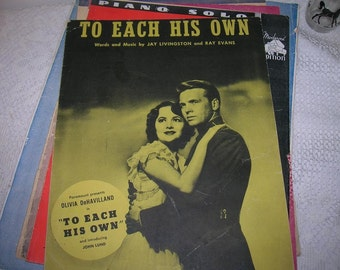 1946 Sheet Music TO Each His Own for Movie with Same Name Starring Olivia DeHavilland