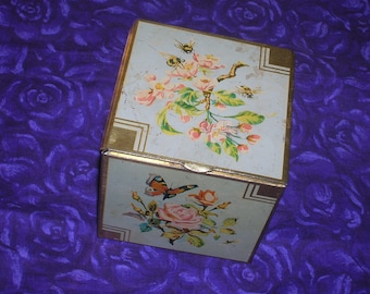 1940s, Hinged Lid, Made in England, Tin Box, Butterflies and Flowers