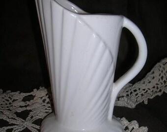 Vintage, Ceramic Pitcher Vase, White