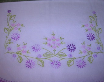 Table Scarve, 14 x 36, White with Purple and Green Leaves, Hand Crocheted Edging