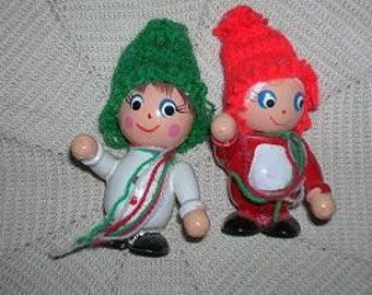 Vintage Wooden Christmas Boy and Girl