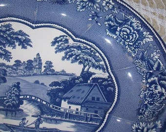 Blue and White Daher Decorated Ware--made in England-Oval Bowl