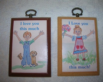 I Love You This Much Vintage Wooden Plaques