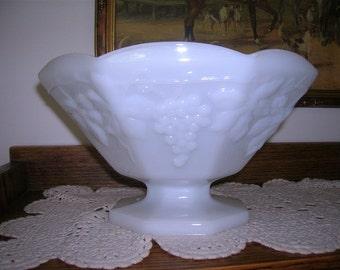 Vintage Milkglass Pedestal Bowl with Grape Design
