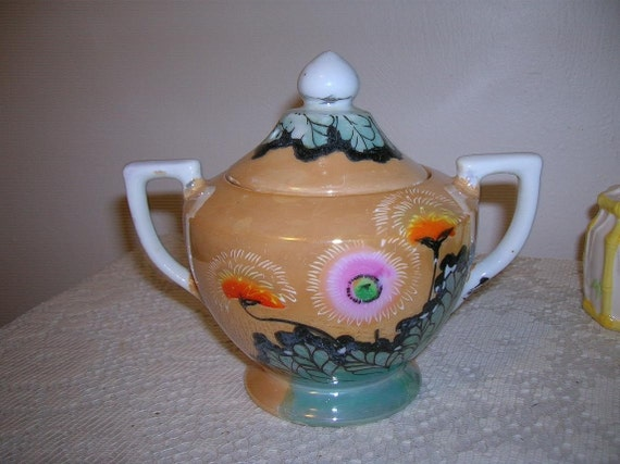 Beautiful Asian Inspired Vintage Very Large Sugar Bowl Made in Japan