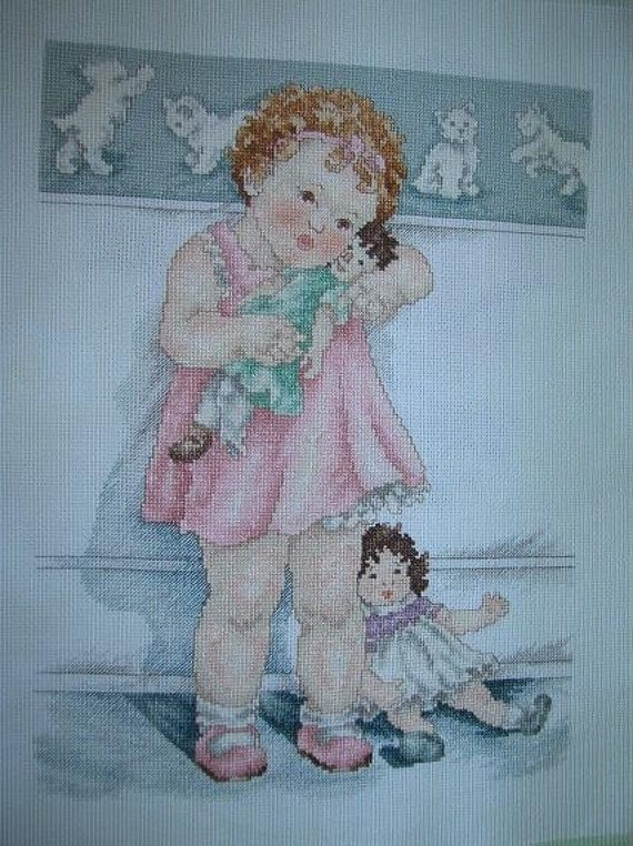 RESERVED FOR MOLOKAISUNCharming Little Girl with Her Baby Doll Vintage Cross Stitch--Betsy Pease Gutman Design--unframed