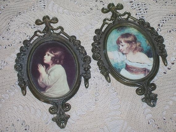 Vintage Oval Metal Frames, very ornate, made in Italy