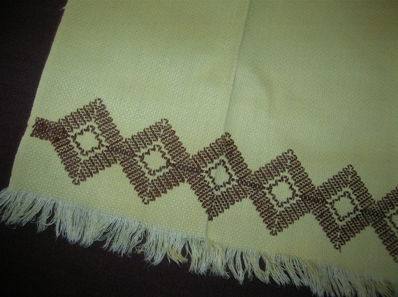 Kitchen Towel, Swedish Huck Weaving, Yellow with Brown, Never Used, Pristine Condition