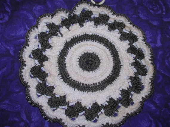 Hand Crocheted Potholder, Cotton, Charcoal and Soft White