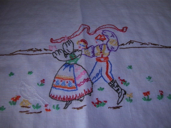 Vintage Hand Embroidered Kitchen Towel, Dish Towel, Embroidery, Handmade, Needlecraft, Linen