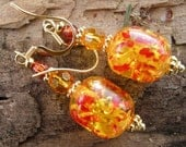 ON SALE 14K Gold Faux Amber and Crystal Earrings