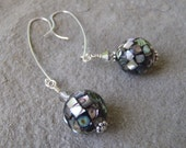 Sterling Silver Abalone Disco Ball Earrings