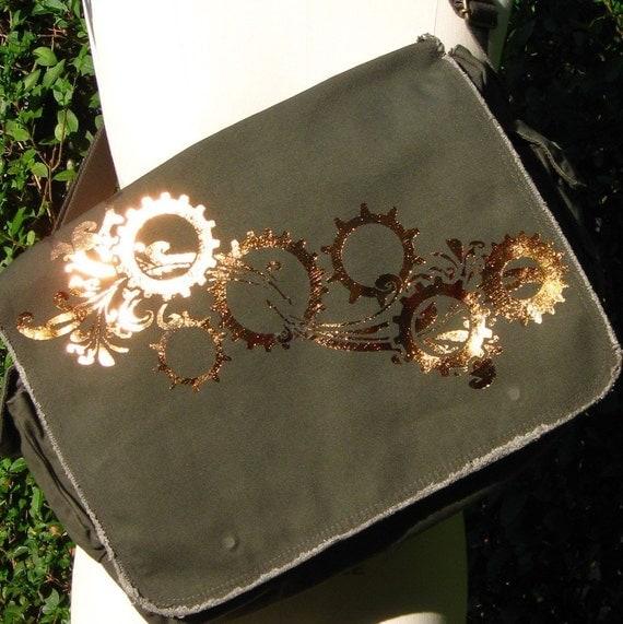 Gears 'N Swirlies Messenger Bag -Foil Print on Green-