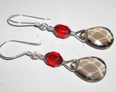SIAM RED Cathedral Crystal and Smokey Quartz 925 Earrings