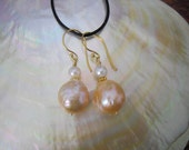 Iridescent Chinese Kasumi Style Pearl Earrings in a Gold Pink Color - On Hold
