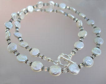 Coin Pearl, Swarovski Crystal and Sterling Silver Necklace