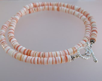 Shell Necklace with Sterling Silver Toggle Closure