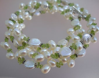 Double Strand Coin and FW Pearl Necklace with Peridot