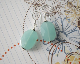 Sterling Silver Sea Foam Blue Chalcedony Faceted Earrings