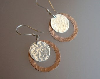 Hammered Sterling Silver and Solid Copper Earrings
