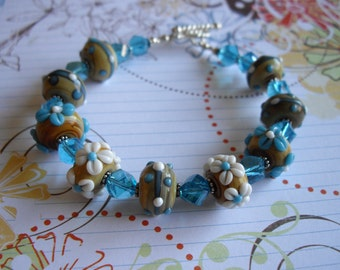 Sterling Silver Lampwork Bead Toggle Bracelet with Bali Sterling Daisy Spacers and Twisted Crystal Beads