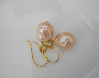 Iridescent Chinese Kasumi Style Pearl Earrings in a Golden Pink Color