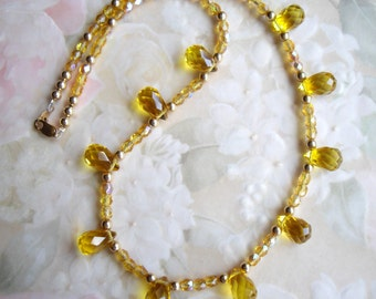 14K GF Briolette Citrine and Topaz AB Crystal Necklace