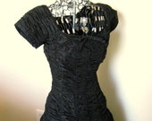 RESERVED for Lolitabee - 1950s Suzy Perette Black Ruched Cocktail Dress Bombshell