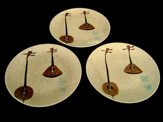 Vintage Red Wing China Lute Song Salad Plates 3 MINT 7 1/4 in diameter