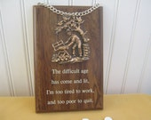 Vintage Sign Plaque Wall Hanging Man Sawing Wood