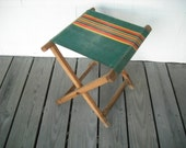 Vintage Camping Stool Seat Canvas Folding Wood