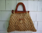 Vintage Beach Bag Tote Straw and Rope