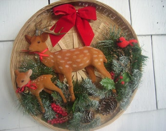 Vintage Christmas Wall Hanging Deer