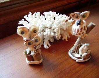 Vintage Figurine Shell Owls Set of 2