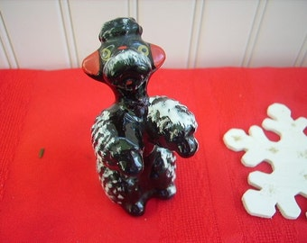 Vintage Black Poodles Redware Set of 3 Figurines
