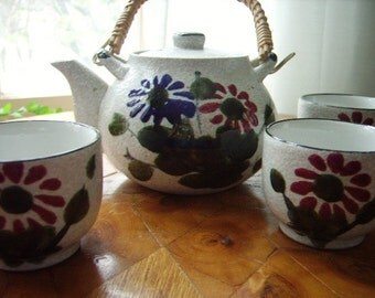 Vintage Teapot Cups Ceramic Set Japan
