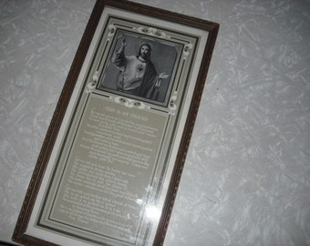 Vintage Print Prayer Religious Framed Jesus This My Friend