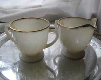 Vintage Fire King Sugar Creamer Set Milk Glass