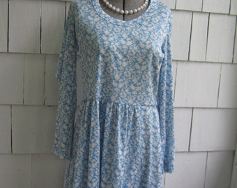 Vintage Blue Print Dress Matti of Lynne