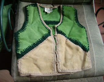 Vintage Vest Suede Green Crocheted 70s