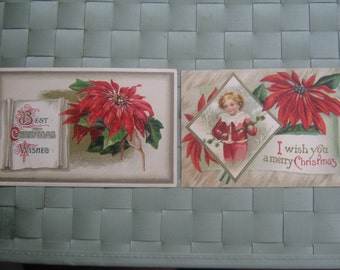 Vintage Christmas Postcards Poinsettias