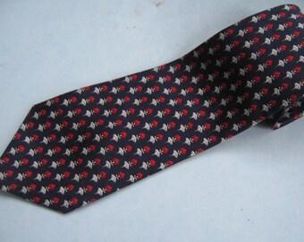 Vintage Necktie Navy Blue Print