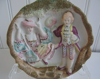 Vintage Wall Hanging Plaque Romantic Couple