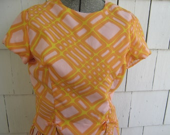 Vintage Skirt Blouse Dress Tangerine Pink