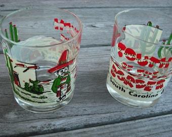 Vintage Souvenir Glasses South of the Border South Carolina Rocks