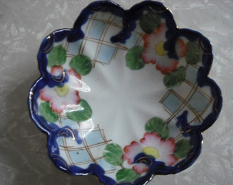 Vintage Dish Bowl Japan Floral Lattice