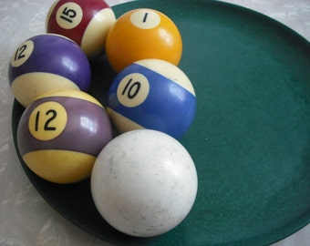 Vintage Billiard Balls Set of Six